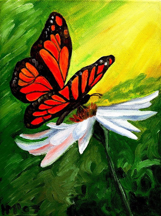 Butterfly, Blossom, Bloom, Painting, Oil, Canvas, Art