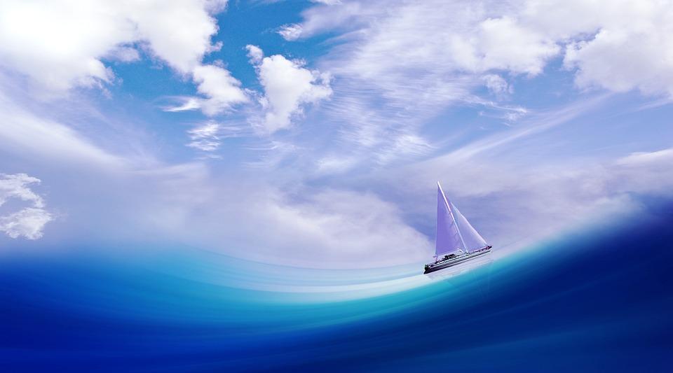 Ship, Boot, Wave, Sea, Water, Sail, Sky, Clouds, Art