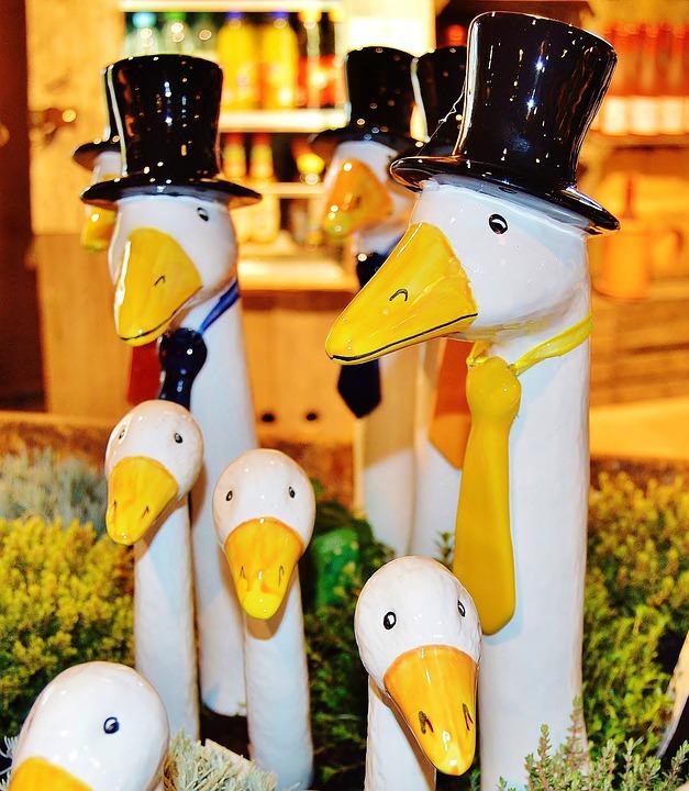 Geese, Figures, Solemnly, Clothed, Pfingstausflug, Art