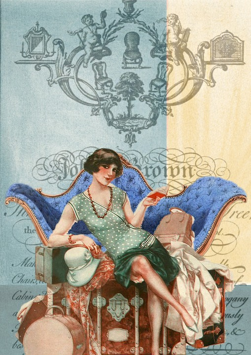 Vintage, Collage, Art, Flapper, Sexy, Chair, Couch