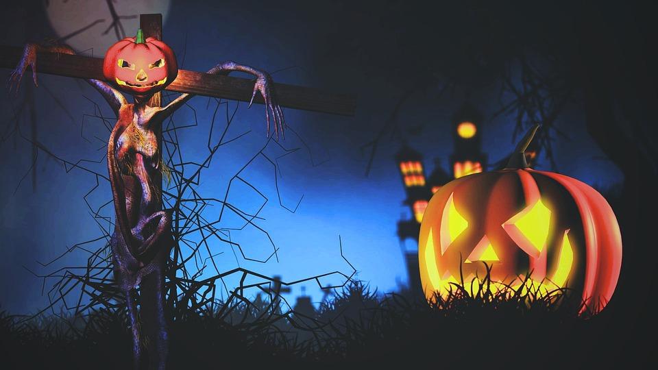 Halloween, Pumpkin, Dark, Art, Fantasy, Artistic, Grass
