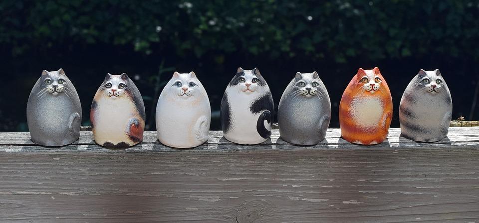 Ceramic Cats, Handmade, Art, Clay, Decoration, Cat
