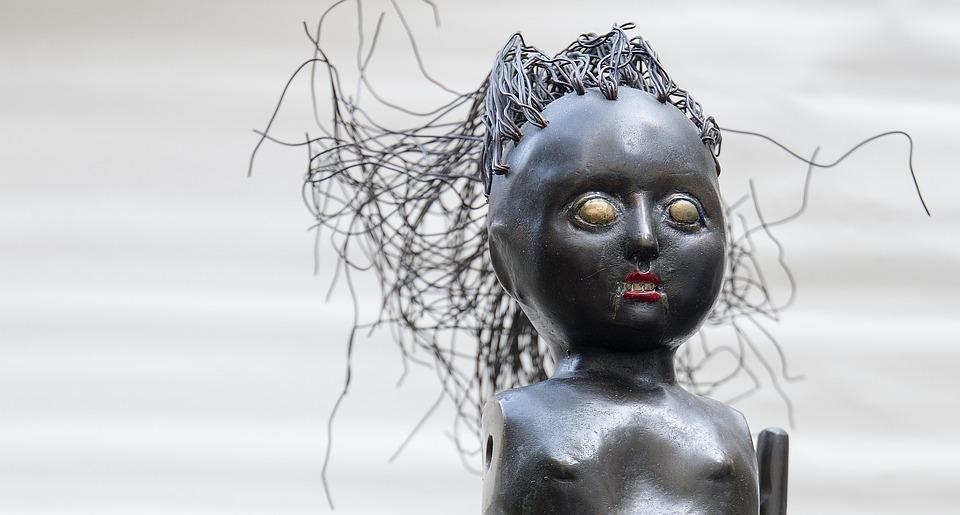 Art, Deco, Doll, Sculpture Brass