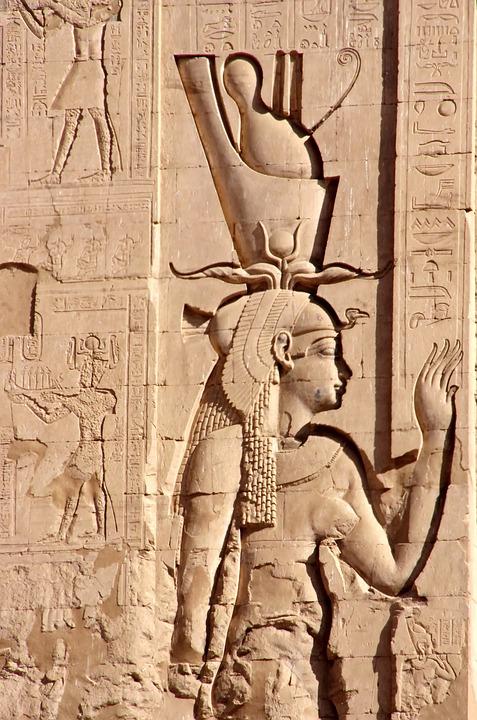 Egypt, Edfu, Temple, Divinity, Double Crown, Woman, Art