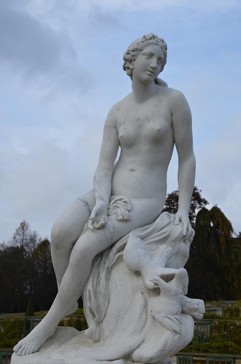 Closed Sanssouci, Statue, Sculpture, Art, Woman, Fig
