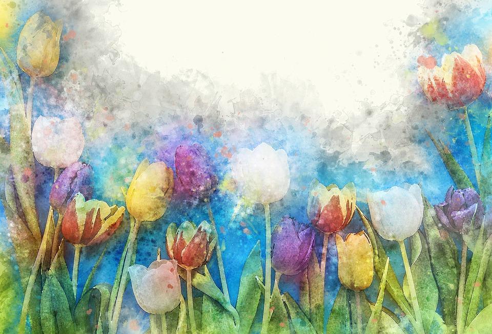 Flower, Color, Floral, Watercolor, Art, Tulip, Nature