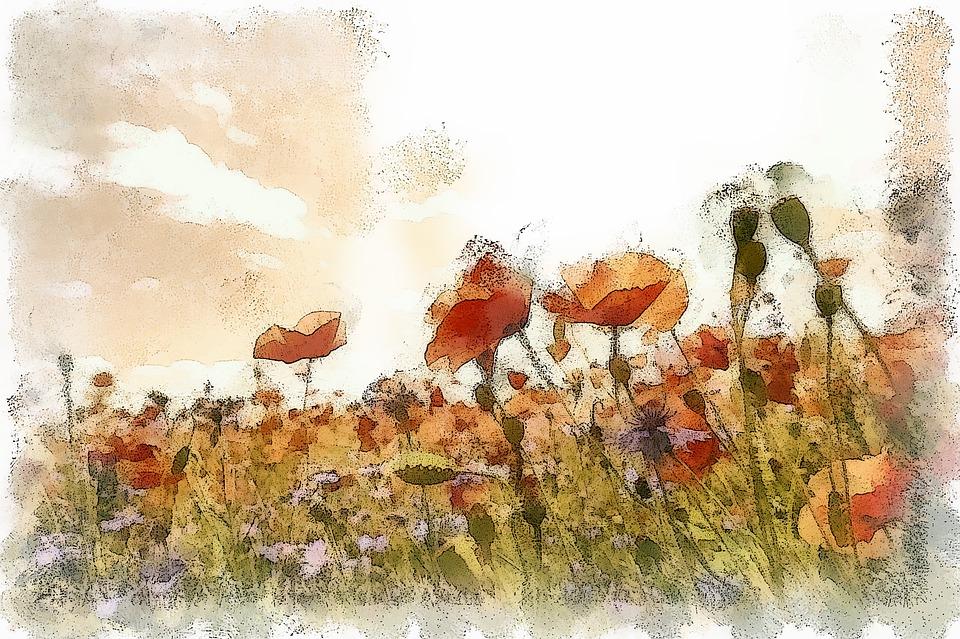 Art, Artwork, Flowers, Poppies, Painting