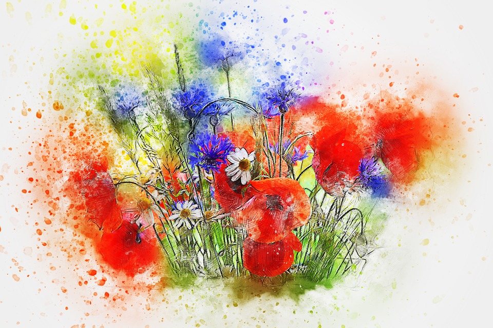 Flowers, Bouquet, Art, Nature, Abstract, Watercolor