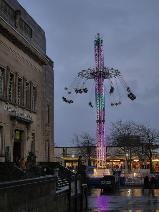 Huddersfield, Library, Skyride, Art Gallery, Night Time
