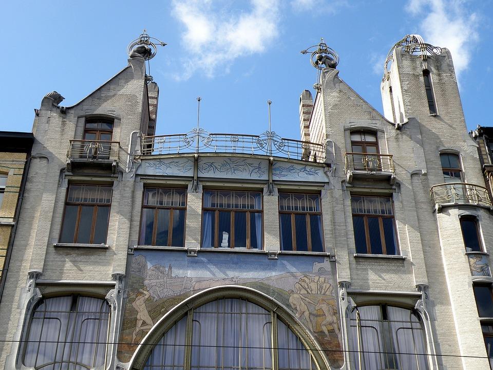 Antwerpen, Liberaal Volkshuis, Art Nouveau, Facade