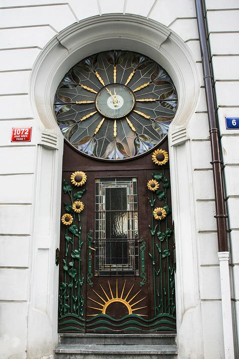 Prague, Old Town, Front Door, Art Nouveau, Decorative