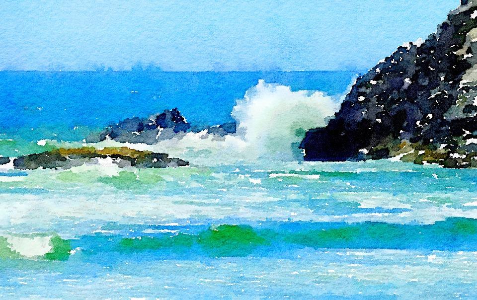 California, Coast, Ocean, Painting, Art, Drawing