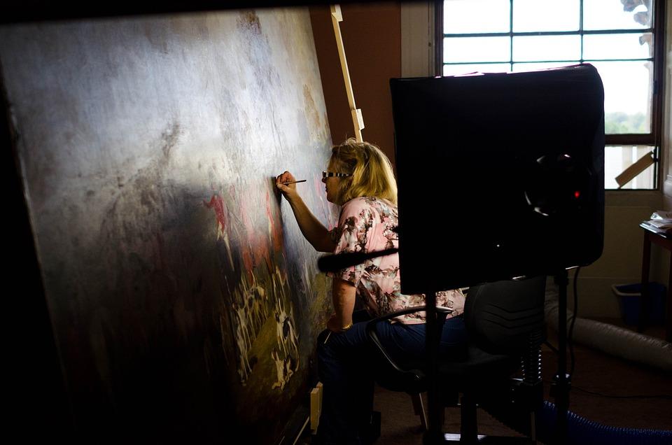 Woman, Painting, Art, Female, Canvas, Color