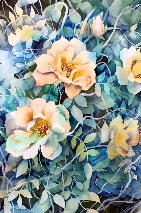 Watercolour, Watercolor, Paint, Art, Painting, Roses