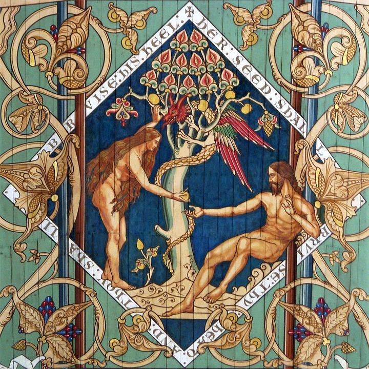 Adam, Eve, Art, Religion, Pattern, Ornament, Image