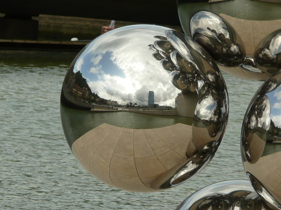 Bilbao, Ball, Guggenheim, Art, Reflection, Metal, Shiny