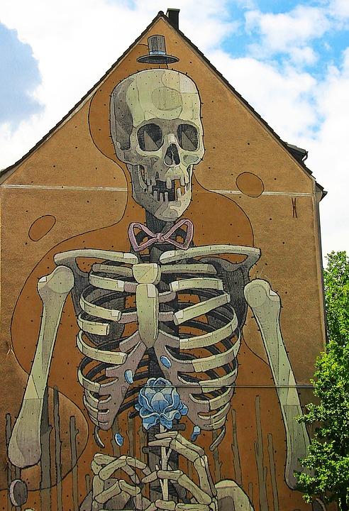 Graffiti, Hauswand, Skeleton, Skelet, Art, Sprayer