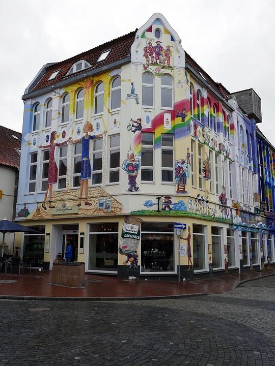 Empty, Tea House, Facade, Art, Painted, Motive