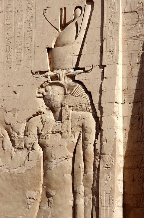 Egypt, Edfu, Temple, Divinity, Double Crown, Horus, Art