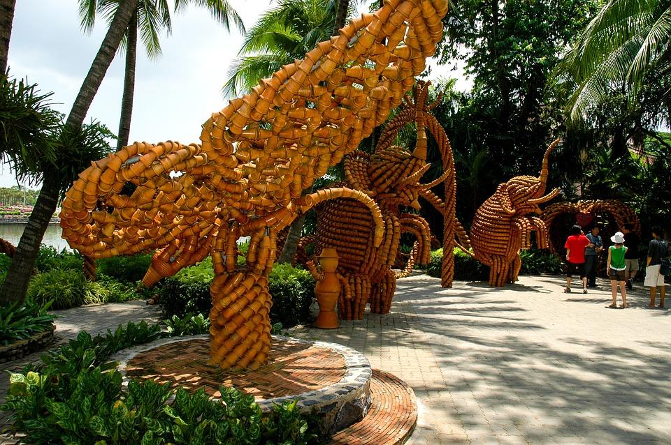 Art, Flower Pots, Park, Thailand
