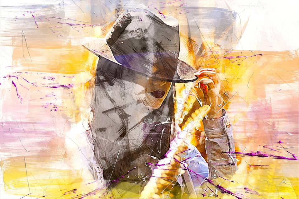 Girl, Hat, Art, Abstract, Watercolor, Vintage, Beauty