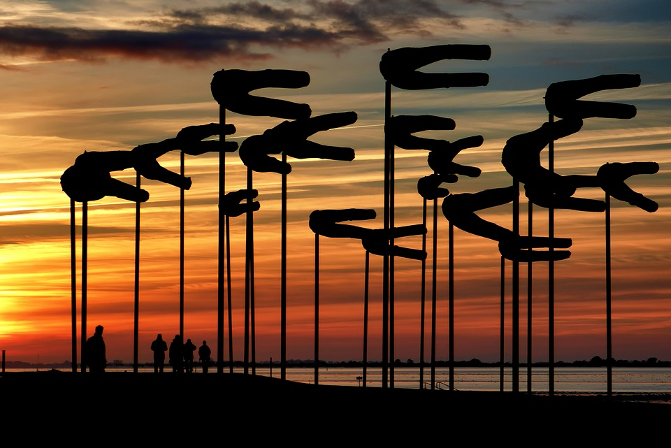 Sunset, Wadden Sea, Art, North Sea