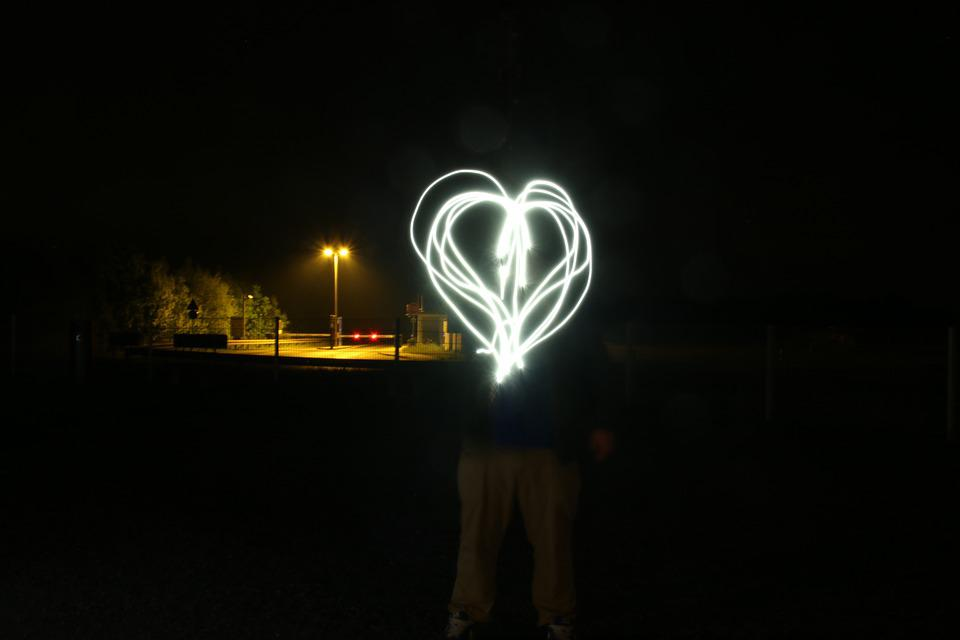 Heart, Light, Night, Movement, Art, Romance, Welcome