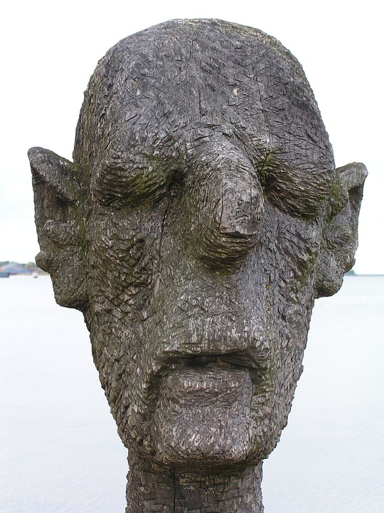Sculpture, Art, Wood, Weathered, Man, Head, Wieck, Darß