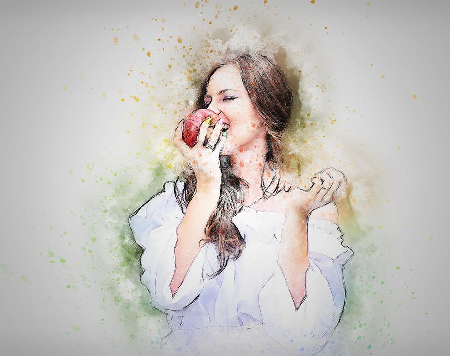 Woman, Woman Eating Apple, Art, Abstract, Apple