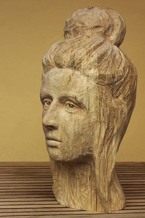 Head, Woman, Sculpture, Wood, Face, Art, Sculptor