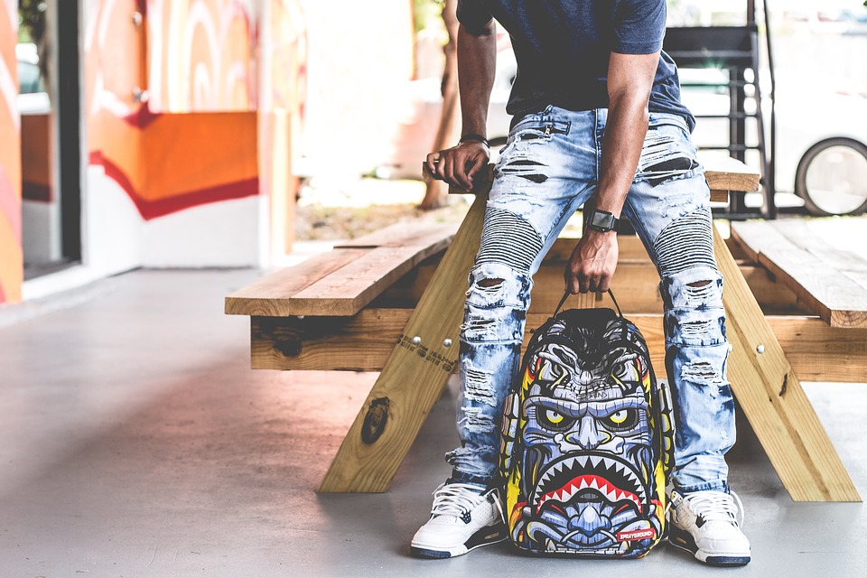 Bag, Graffiti, Art, Ripped Jeans, Wooden, Table, Chair