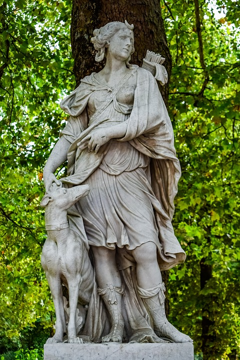Artemis, Diana, Sculpture, Statue, Park, Goddess