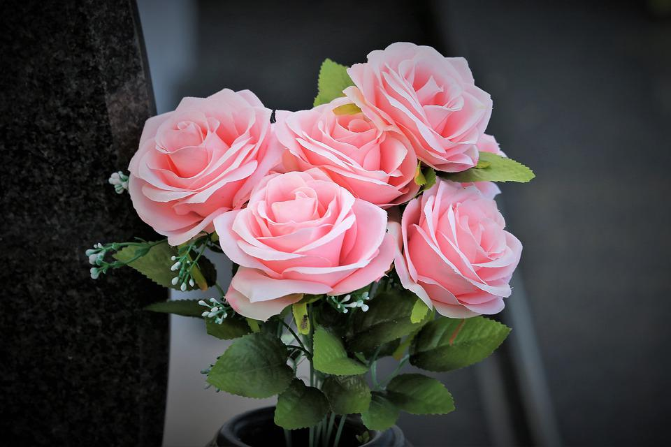 Artificial Flowers, Pink Roses, Vase, Colorful