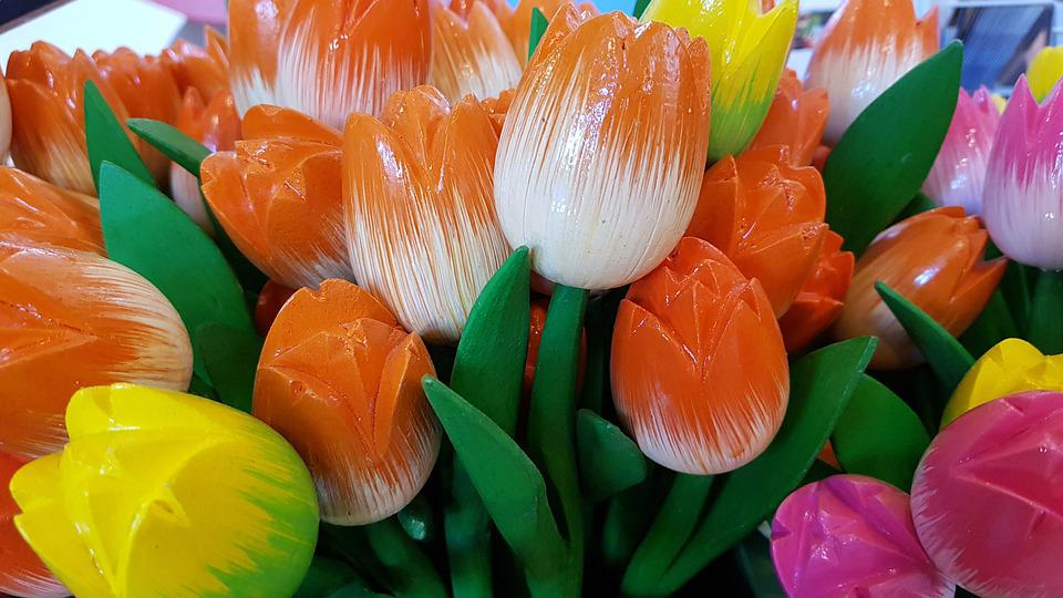 Wooden Tulips, Artificial Flowers, Souvenirs, Holland