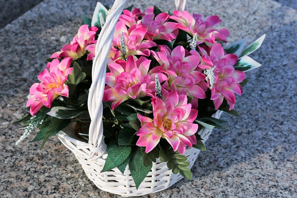 Artificial Pink Lowers, White Basket, Arrangement