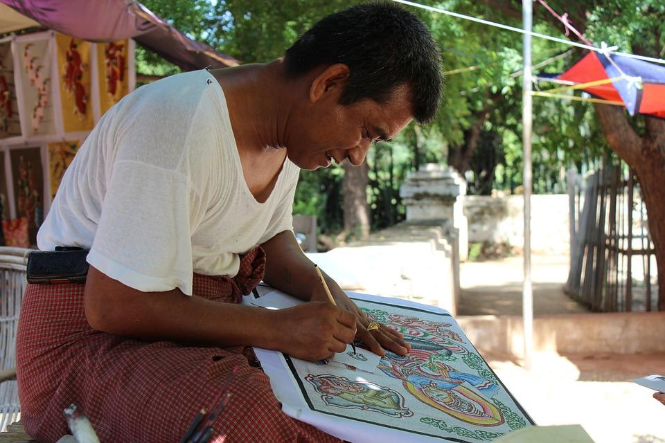 Myanmar, Bagan, Burma, Asia, Human, Artist