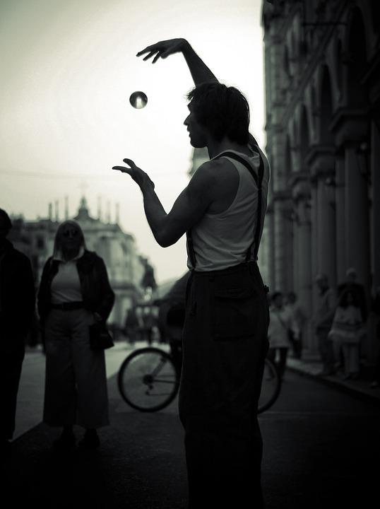 Street Artist, Artist, Black And White, City, Clown