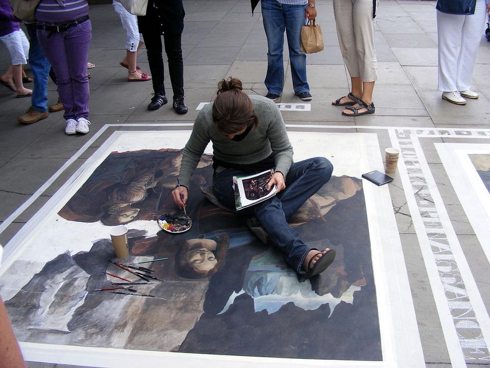 Street, Painting, Chalk, Paint, Artist, Exterior