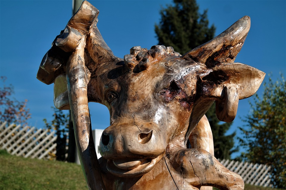 Cow, Wood, Carving, Figure, Arts Crafts, Handmade