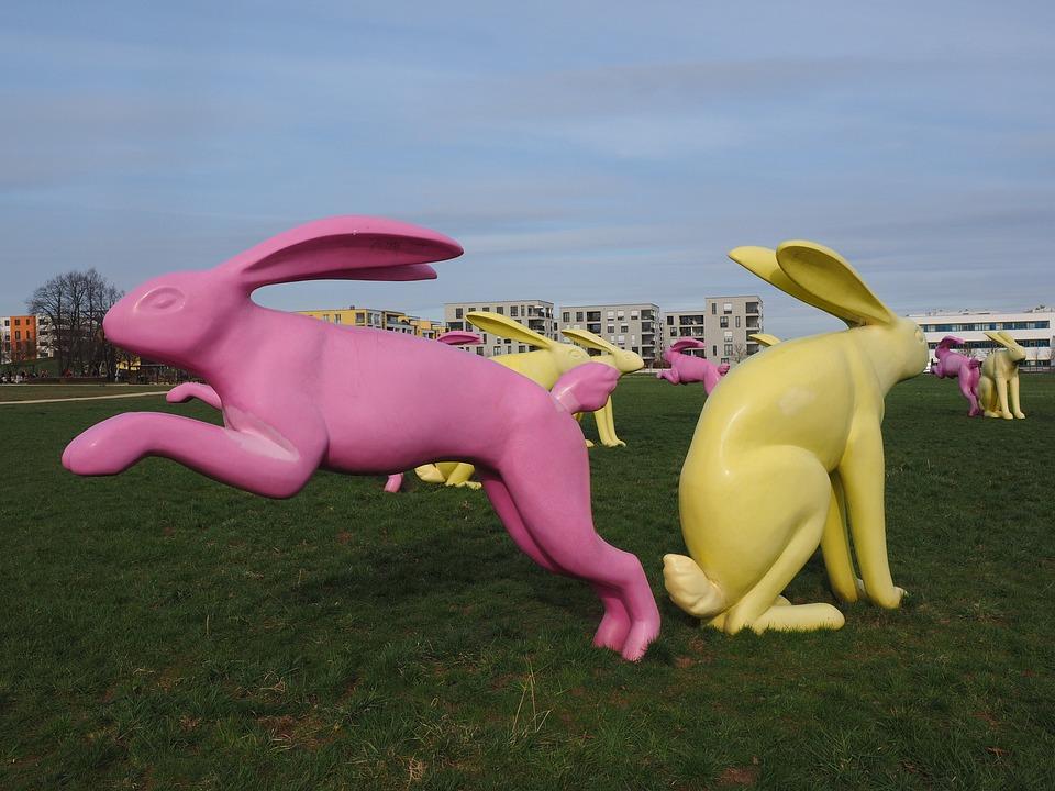 Rabbit, Bunny Couple, Artwork, Yellow, Pink