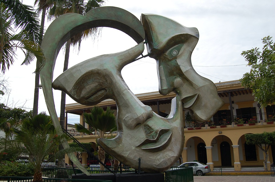 Two Face, Statue, Artwork, Mexico, Mazatlan, Park