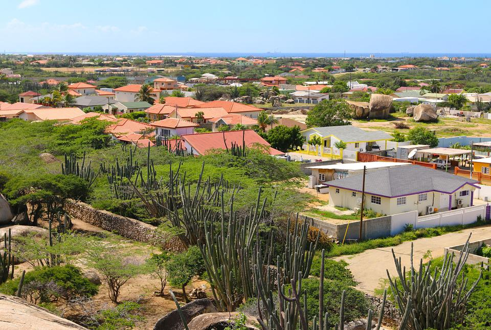 Houses, Cacti, Aruba, Horizon, Vacation
