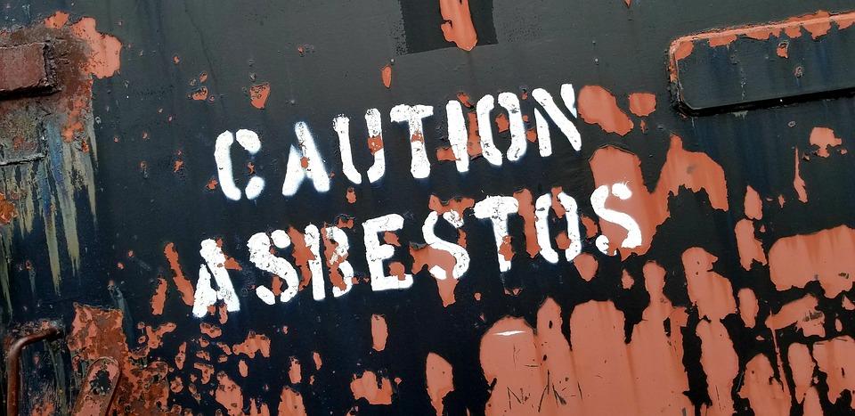 Sign, Caution, Asbestos, Spray Paint, Military Site