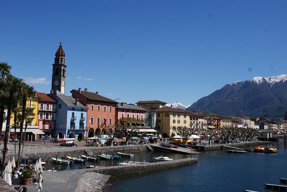 Ticino, Ascona, Switzerland, Bank, Lake