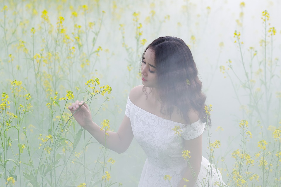 Meadow, Mist, Fog, Women, Flowers, Girl, Asia