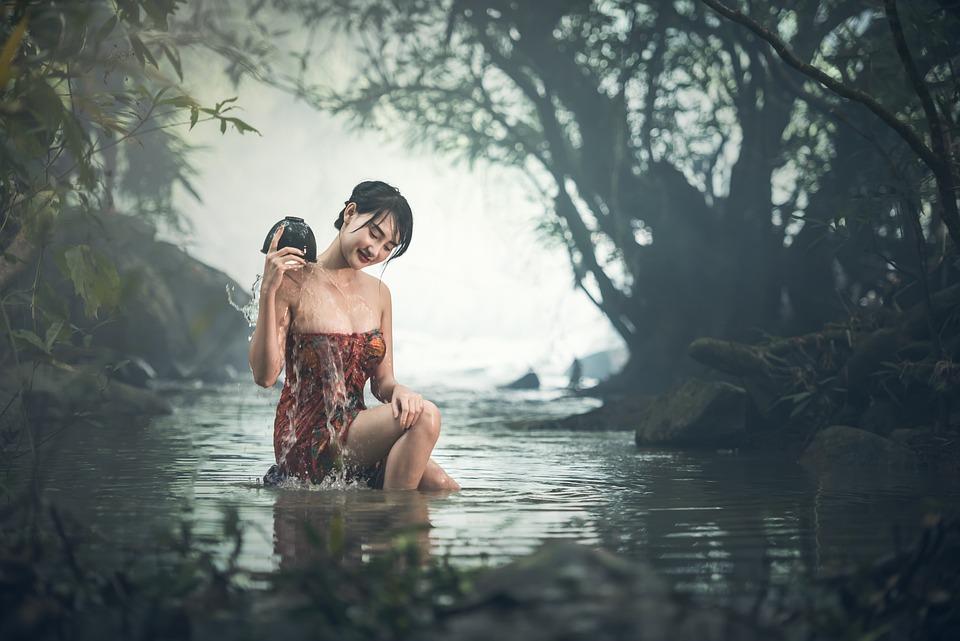 Washing, Woman, Outdoors, Wet, Asia, Cambodia, Girl