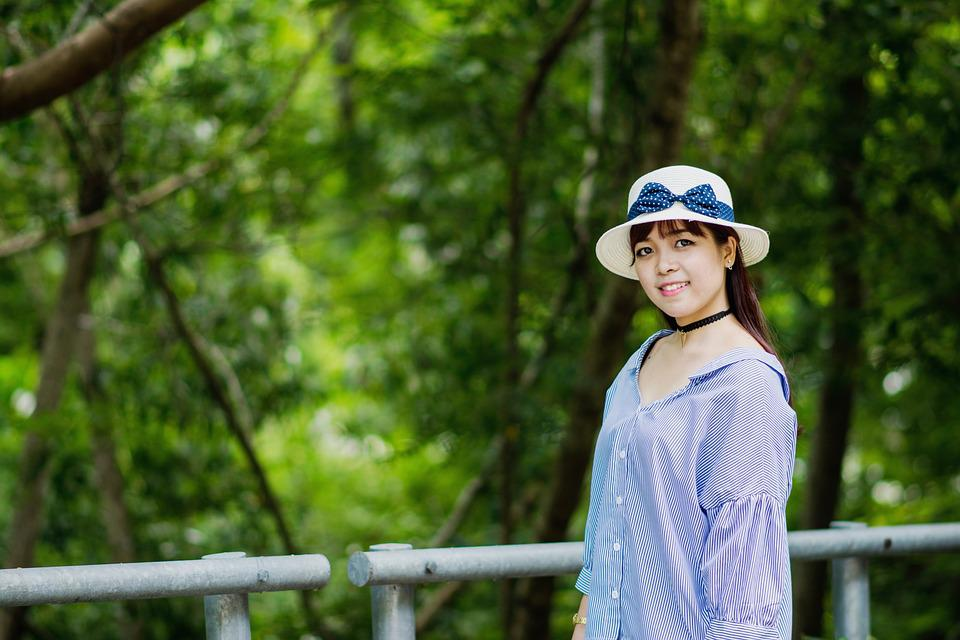 Girl, Before The Forest, Green Tree, Woman, Young, Asia
