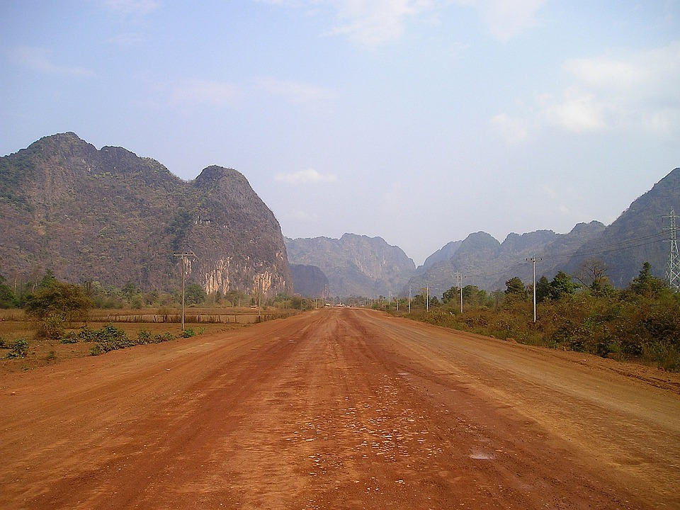 Laos, Southeast, Asia, So, Via An Unpaved, Road