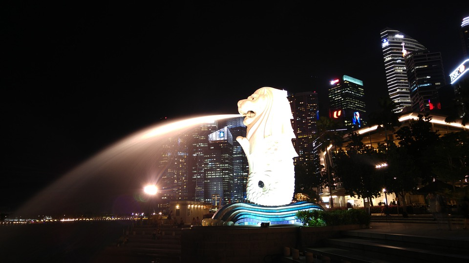 Singapore, Night, Landmark, Asia, Water, Waterfront