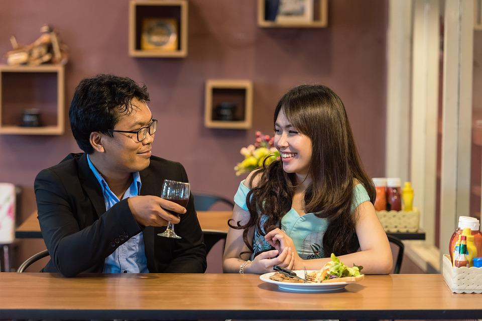 Restaurant, Flirting, Couple, Cheers, Food, Adult, Asia